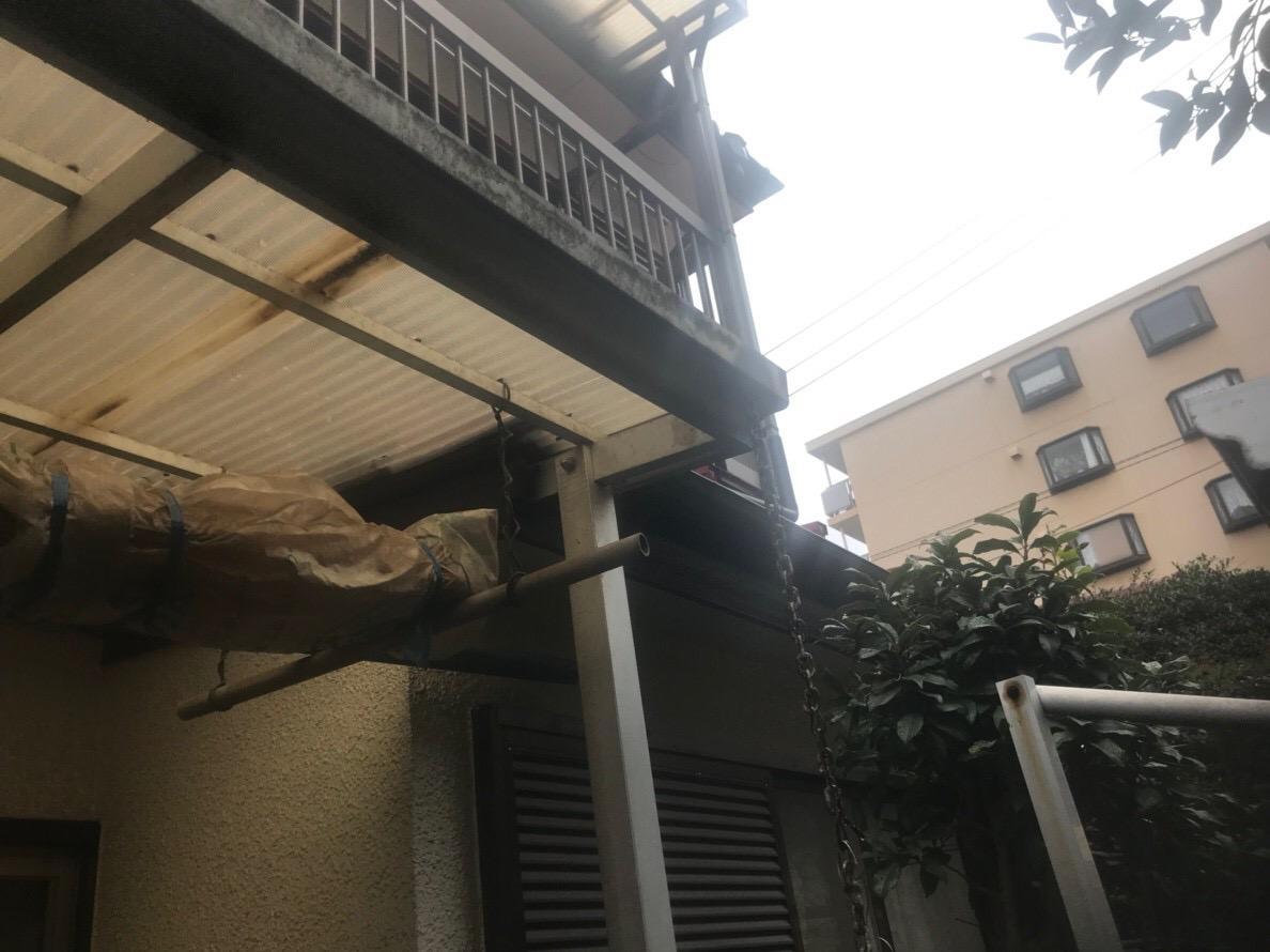 千葉県船橋市で雨樋交換と波板交換、屋根洗浄