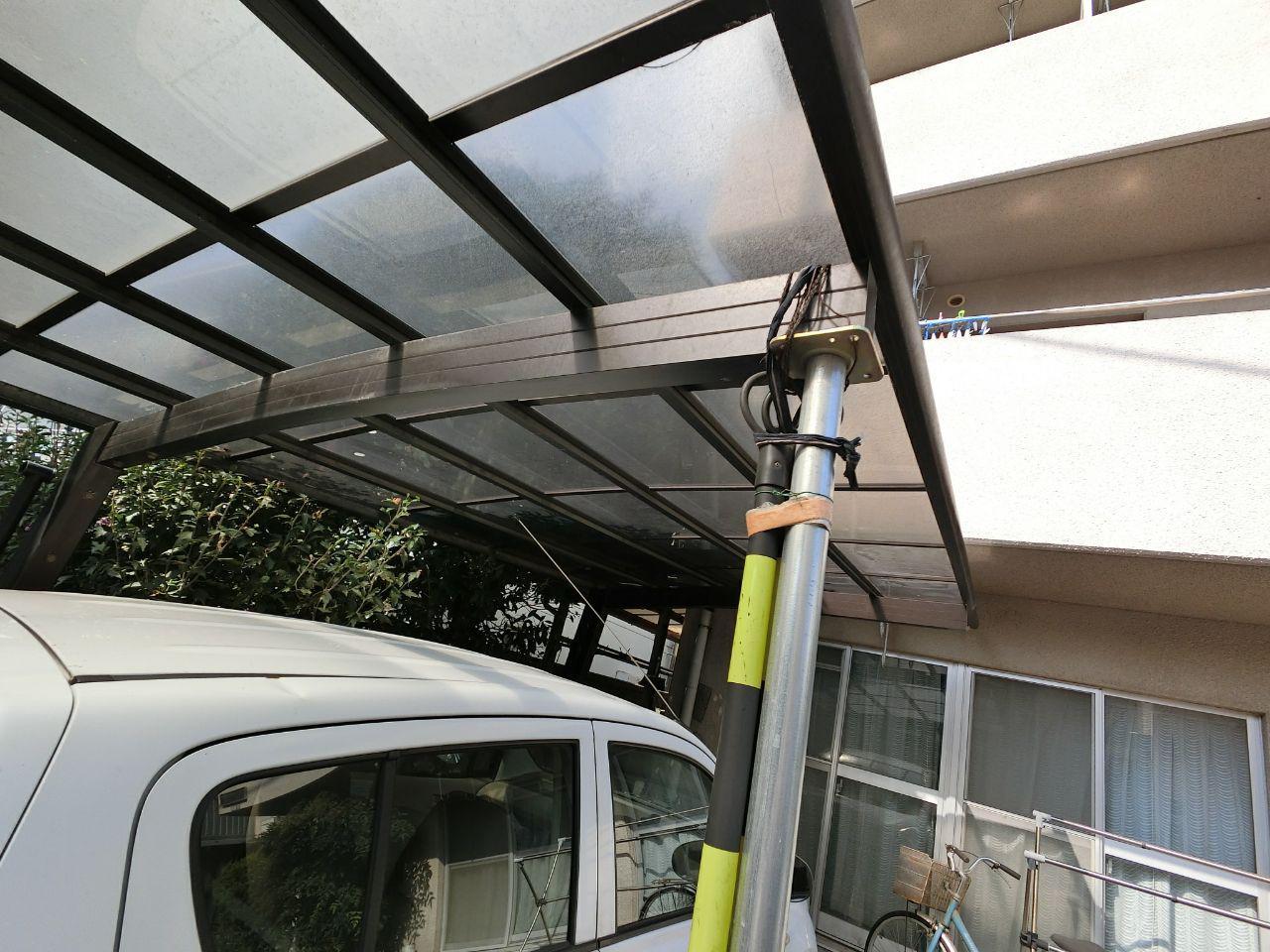 台風15号にて世田谷区でカーポートと波板の損傷あり!火災保険修理術!
