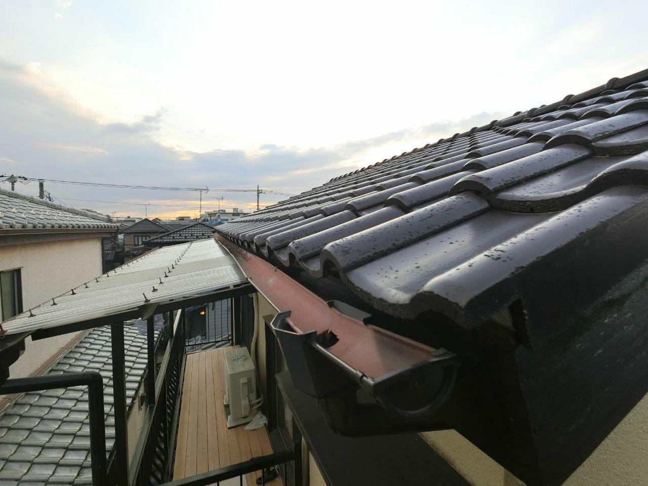 ふじみ野市にて雨樋調査!雪の影響で大きく曲がってしまった雨樋を火災保険で修理!