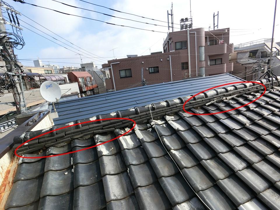 東京都豊島区で台風で飛んだ瓦を修復!
