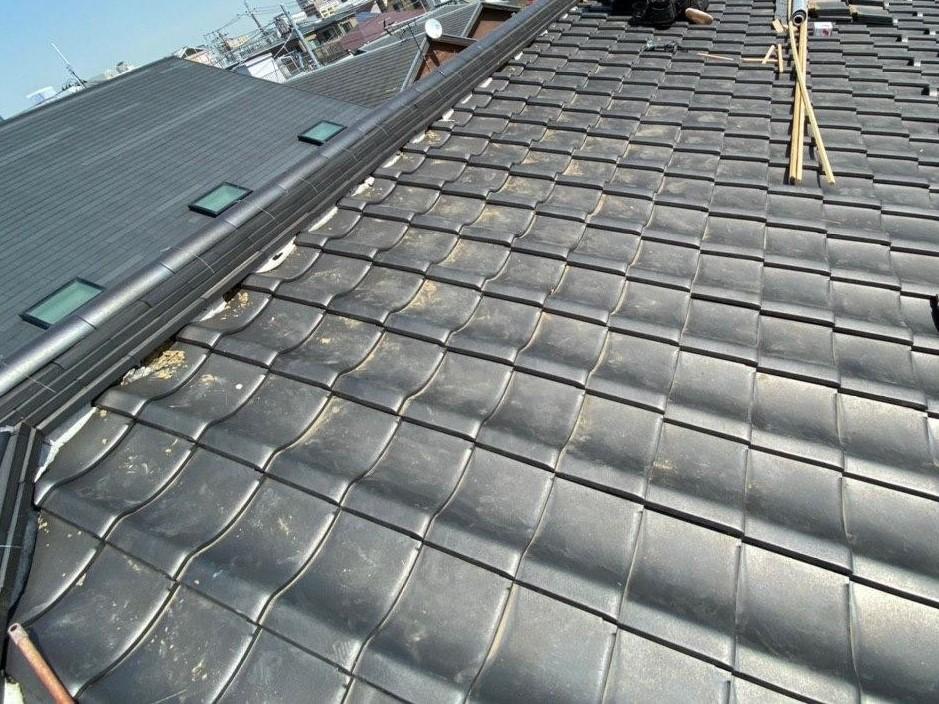 埼玉県越谷市にて台風被害 屋根葺き直し工事