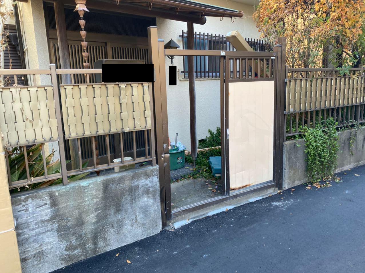 板橋区で外構工事!引き戸門扉の施工