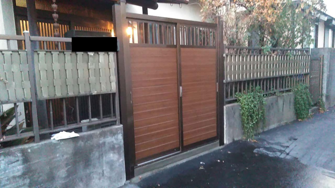 板橋区にて 引き戸門扉の施工