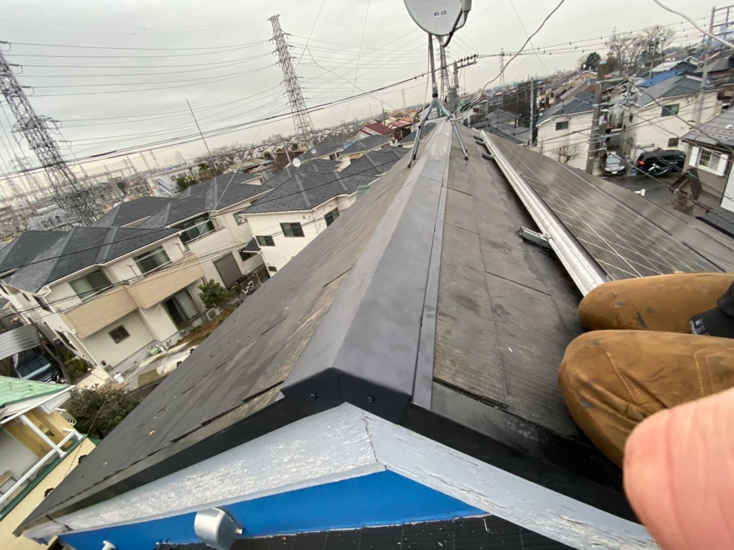 東京都調布市にて棟板金貫板交換工事