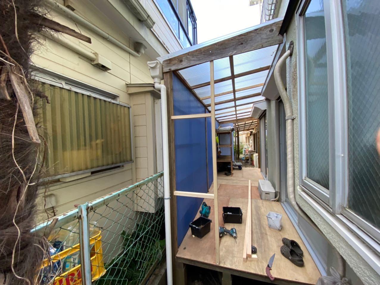 練馬区にてサイドヤード修繕とベランダ防水工事