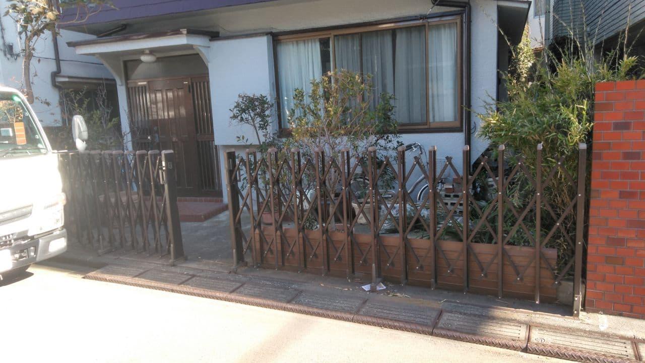 中野区で門扉境界フェンス外構工事を完工