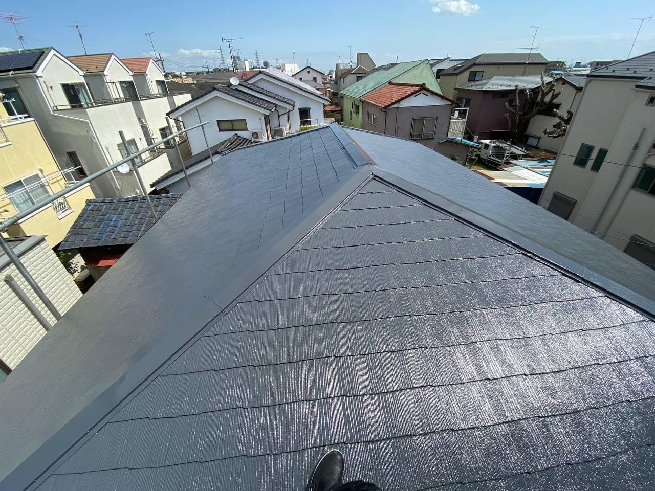 中野区で屋根塗装及び棟板金交換工事