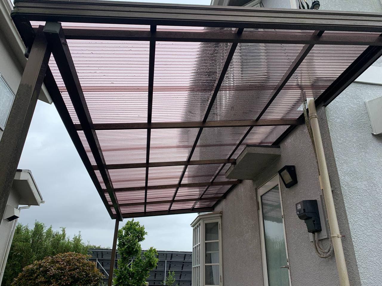茂原市でカーポート屋根修理と雨樋交換工事