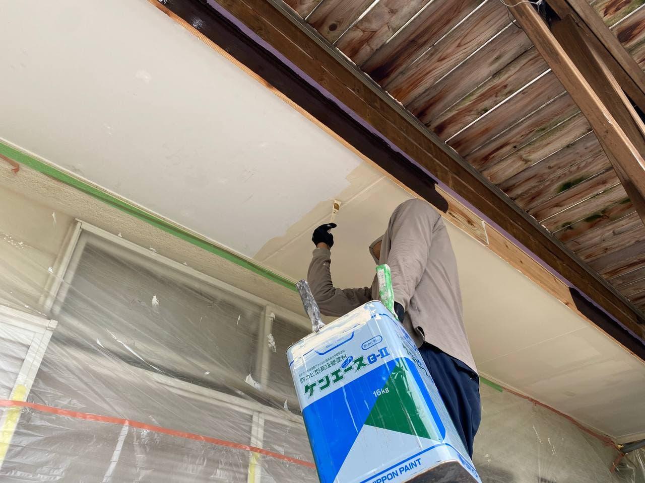 東京都杉並区で軒天井補修及び棟板金交換工事