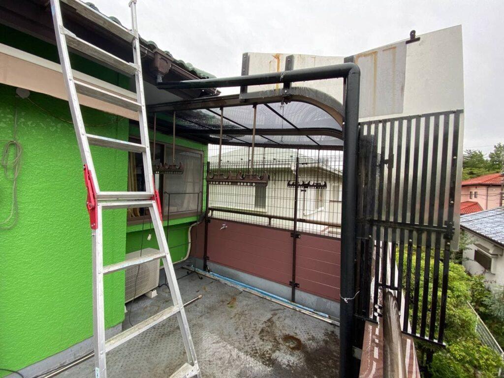千葉市美浜区でベランダ屋根と境界フェンス新設 width=